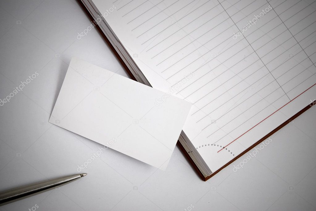 Empty business card with diary and pen  Stock Photo #1387624