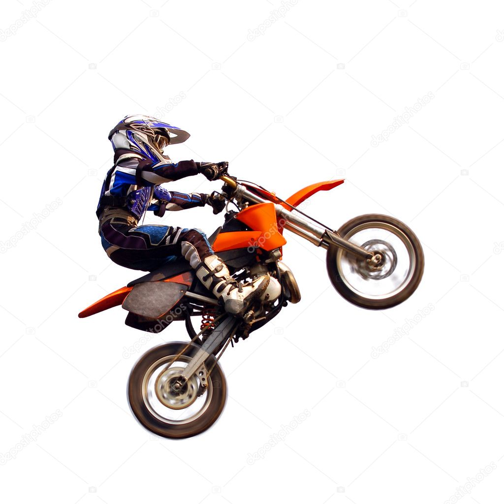 Young moto rider in the air isolated on white — Stock Photo #1389744