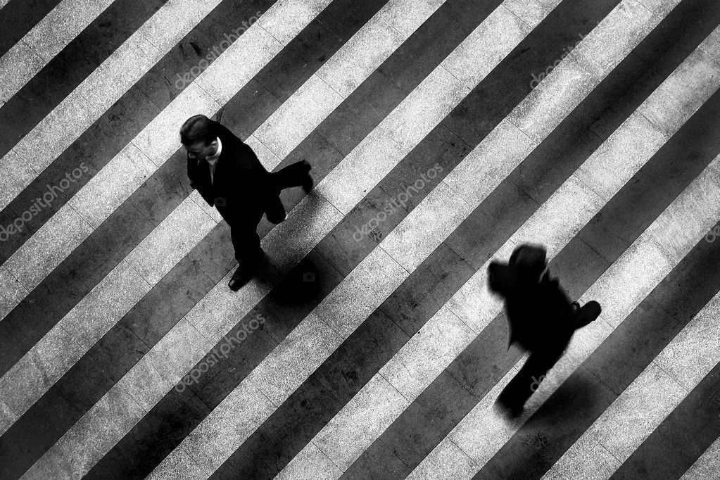 Busy crosswalk scene on the stripped floor — Stock Photo #1389768