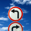 Foto Stock: Two opposite road signs