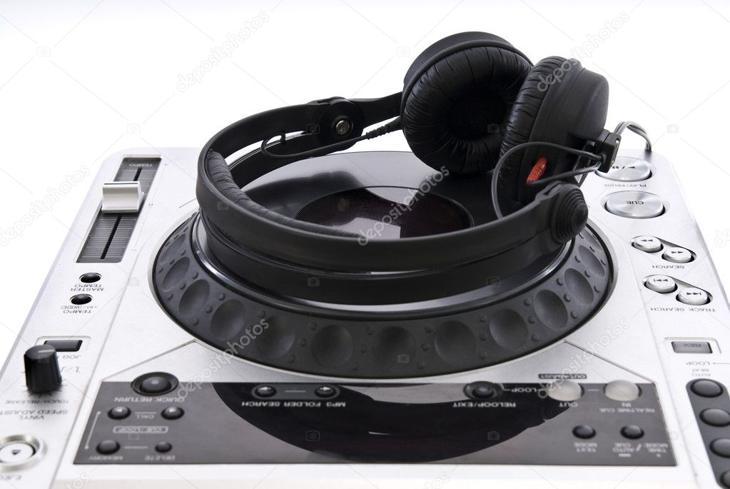 Dj mixer with headphones isolated on white — Stock Photo #1390047