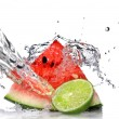 Watermelon with lime and water - Stock Photo