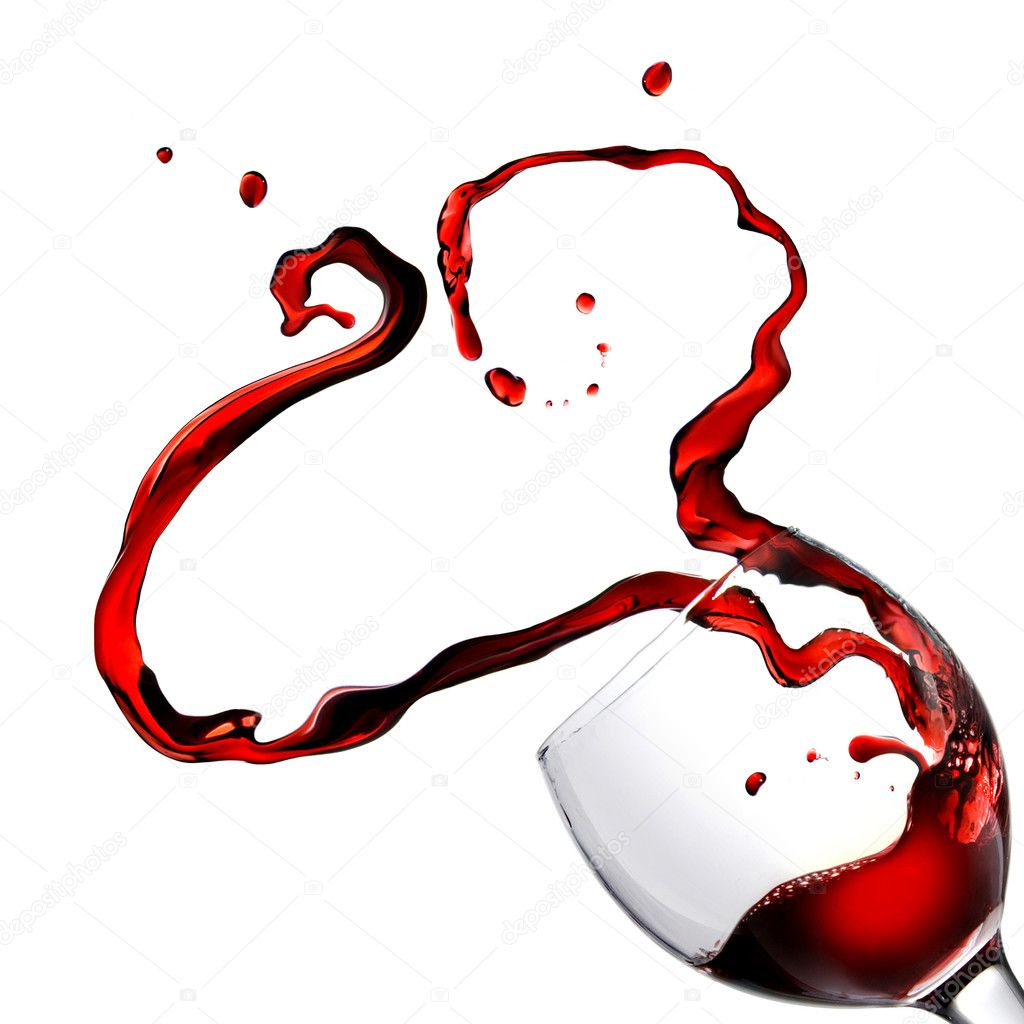 Heart from pouring red wine in goblet isolated on white — Stock Photo #2622283