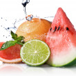 Water splash on fresh fruits — Stock Photo #2635425