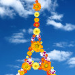 Eiffel tower from flowers — Stock Photo