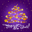 New Year greeting card with flowers — Stockfoto