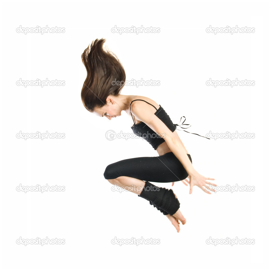 Jumping young dancer isolated on white background — Stock Photo #2642675