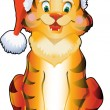 Xmas funny tiger in Santa's hat - Stock Vector