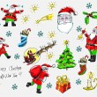 Stock Vector: Hand-drawn vector set of Xmas doodles