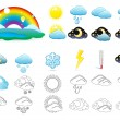 Vector set of weather icons - Stock Vector