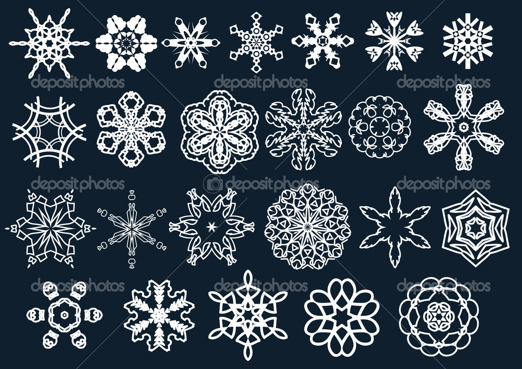 Set of beautiful snow flakes and stars — Stock Vector #1396663