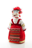 Funny cow in russian traditional costume — Stock Photo