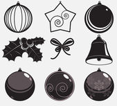 Xmas set of vector decorations — Stockfoto
