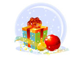 Gift box and two xmas globes — Stock Photo
