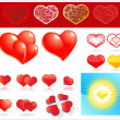 Set of shiny hearts — Vettoriali Stock