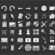 54 black and white web icons - Stok Vektör