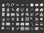 54 černobílých web ikony — Stock vektor