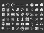 54 icônes web noir et blanc — Vecteur