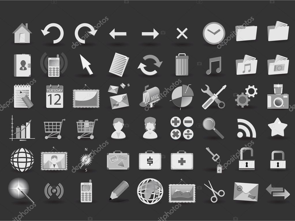 54 black and white web icons — Imagen vectorial #1586110