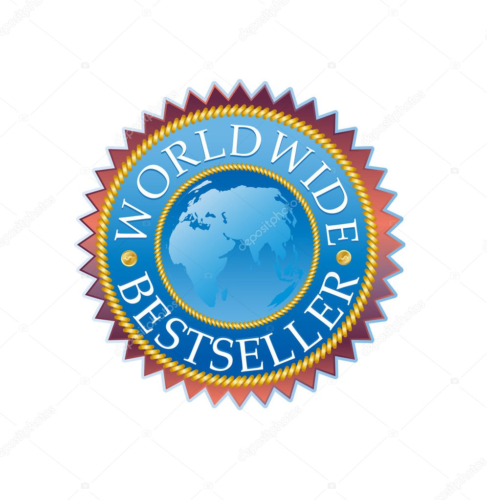 High quality worldwide bestseller sticker with map — Stock Vector #1586118