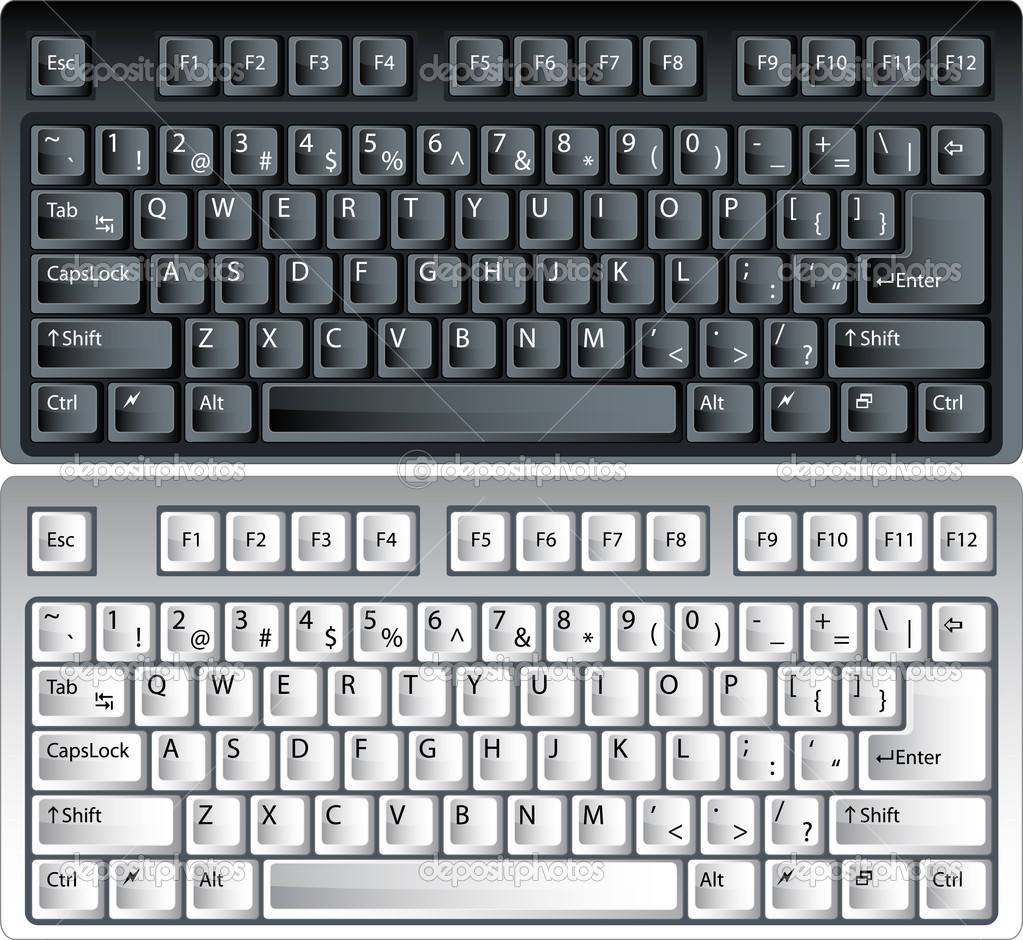 Black and white vector pc keyboard — Stockvectorbeeld #1589347