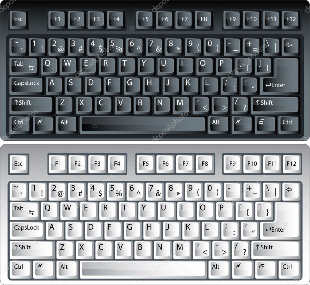 Black and white vector pc keyboard — Grafika wektorowa #1589347