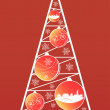 Xmas tree with globes on red background — Stock Photo