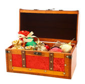Open wooden trunk with gifts — Stock Photo