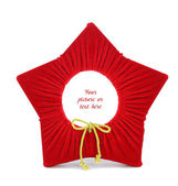 Fabric star shaped frame with place for — Stock Photo