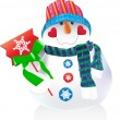 Funny vector snowman in hat and scarf — Stock vektor