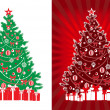 Decorated vector xmas tree with gifts — Stock Vector