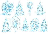 Tree doodles — Stock Vector