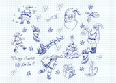 Hand-drawn vector set of Xmas doodles — Stock Vector