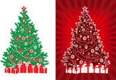 Ingerichte vector kerstboom met geschenken — Stockvector