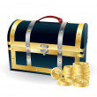 Pirates wooden chest with golden coins — Imagen vectorial