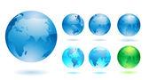 Zestaw błyszczący szczegółowe globy ziemi — Wektor stockowy