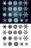 Set of beautiful snow flakes and stars — Stock Vector
