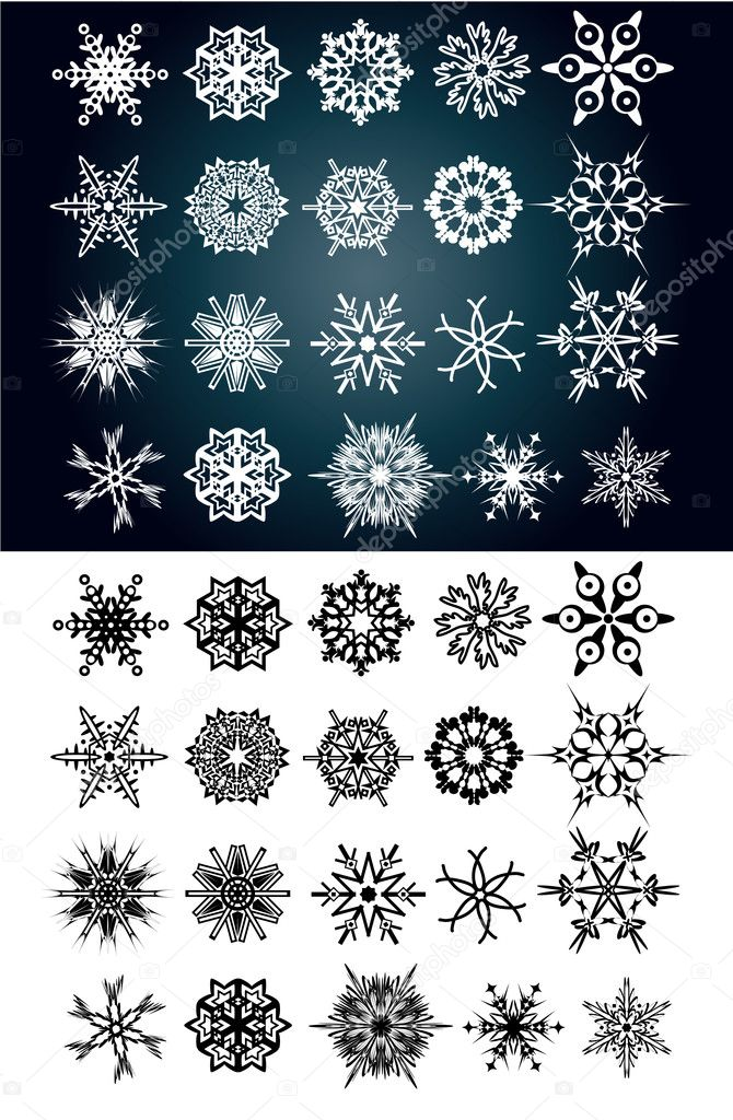 Set of beautiful snow flakes and stars — Stock Vector #1719246