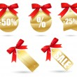 Set of golden sales labels with red bow — Stock Vector