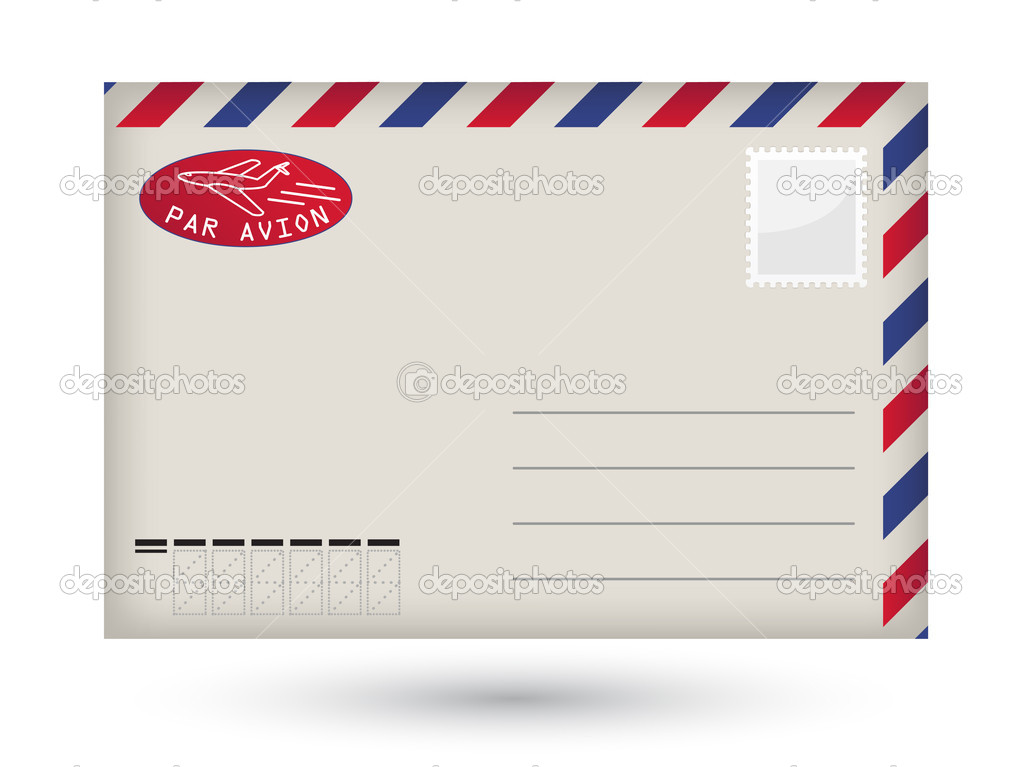 Detailed vector blank airmail envelope — Stock Vector #1772675