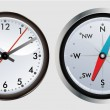 Modern clock and compass — Image vectorielle