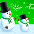 Couple of snowmen — Stock Vector
