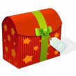 Stock Vector: Xmas gift box with ribbon and tag