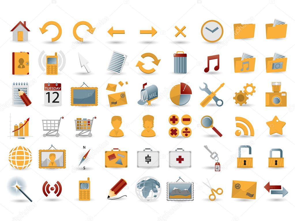 54 detailed web icons — Imagen vectorial #1885250