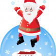 Royalty-Free Stock Vector Image: Jumping Santa postcard