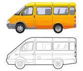 Microbuses de pasajeros detallado vector — Vector de stock