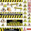 Big set of under construction signs — Imagen vectorial