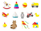 Colorful icons of toys — Stock Vector