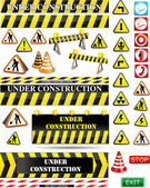 Big set of under construction signs — 图库矢量图片