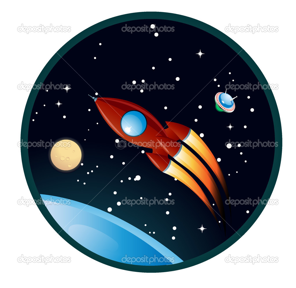 Cartoon rocket over the blue planet  Stockvectorbeeld #2318983